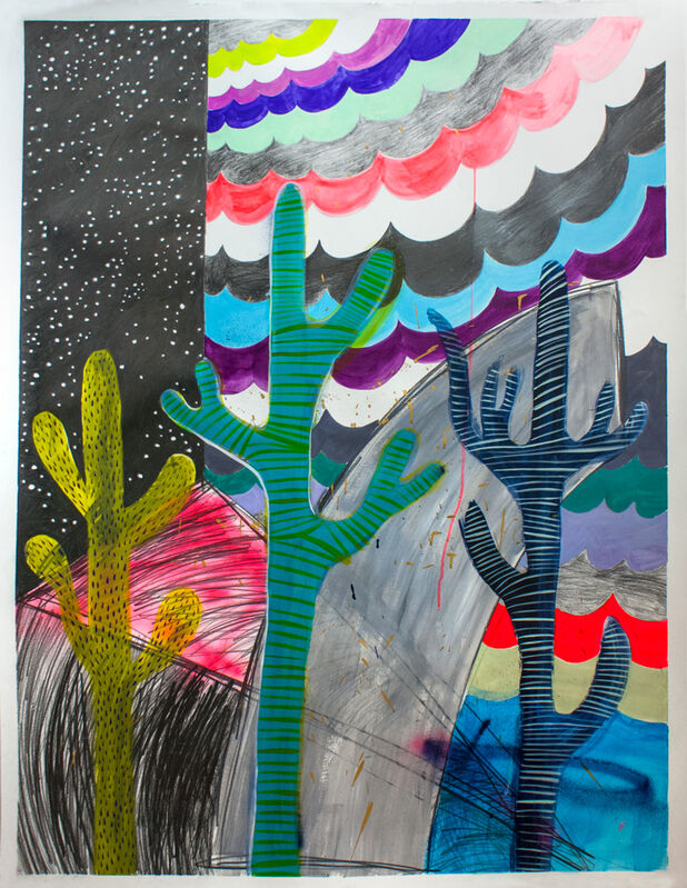 Jennifer Shepard, 'Into The Great Wide Open', 2017, Drawing, Collage or other Work on Paper, Acrylic, graphite, gouache and spray paint, deckled edge, Spotte Art
