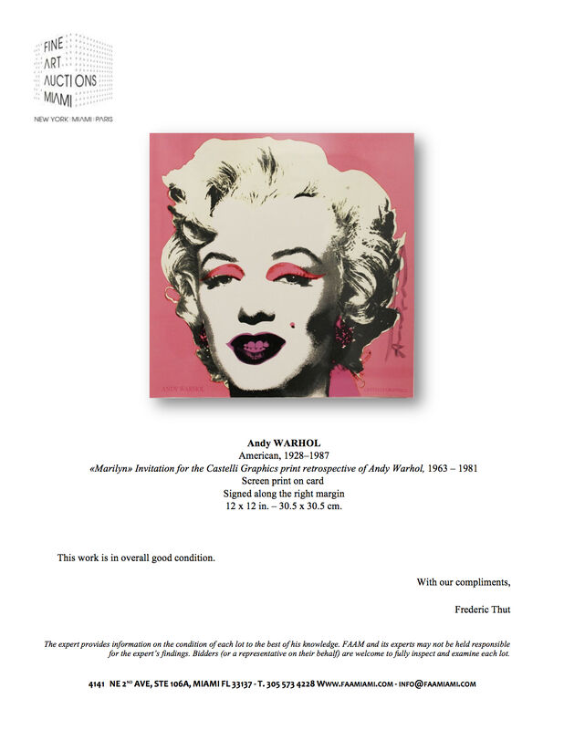 """Andy Warhol, '""""Marilyn"""" Invitation for the Castelli Graphics print retrospective of Andy Warhol', 1963-1981, Print, Screen print on card, Fine Art Auctions Miami"""