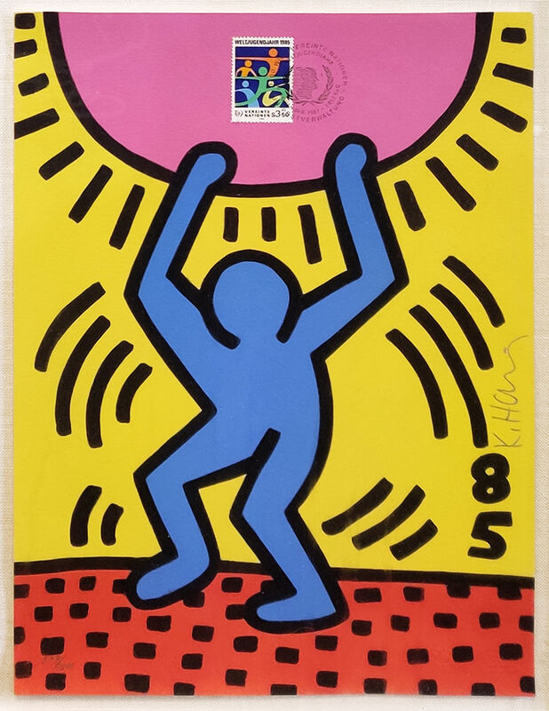 Keith Haring, 'INTERNATIONAL YOUTH YEAR', 1985, Print, LITHOGRAPH, Gallery Art