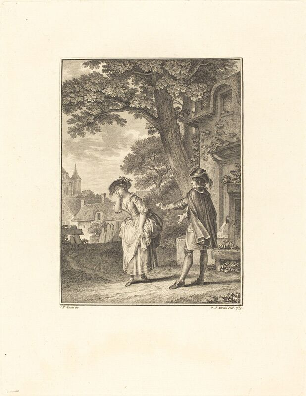 Pietro Antonio Martini after Jean-Michel Moreau, 'Le Devin du Village (Colette Weeping)', 1779, Print, Etching and engraving, National Gallery of Art, Washington, D.C.