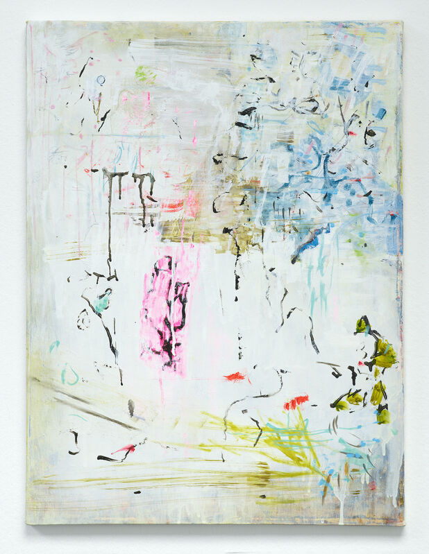 Whitney Claflin, '6 Delancey', 2010 -2020, Painting, Oil, ink, Letraset, carbon transfer on canvas, DREI