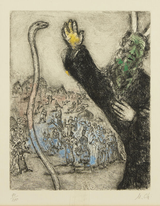Marc Chagall, 'Moses and the Serpent, from La Bible [Cramer Book 30]', 1931-39, Print, Etching with hand colouring on wove, Roseberys