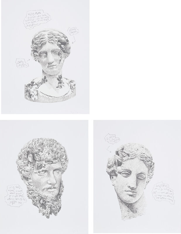 Daniel Arsham, 'Eroded Classical Prints', 2020, Books and Portfolios, The complete set of three screenprints, on archival paper, with full margins, with accompanying enamel name plates, the sheets loose (as issued) all contained in the original linen-covered portfolio with printed titles., Phillips