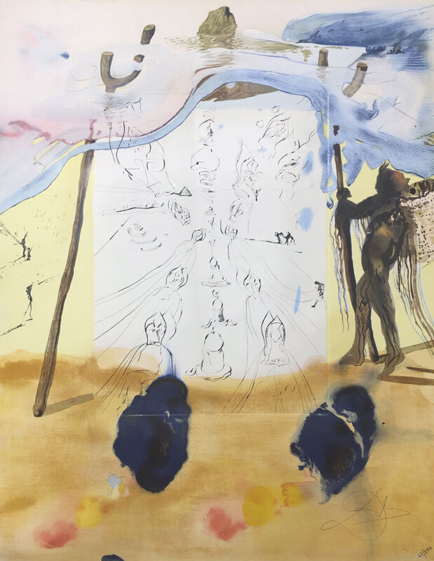 Salvador Dalí, 'Transfer of Traditions ', 1975, Drawing, Collage or other Work on Paper, Engraving and Lithograph on Soft Glove Sheepskin, Cha Cha Gallery