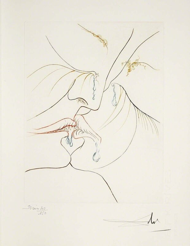 Salvador Dalí, 'The Kiss (Le Paradis Perdu, Plate E)', 1974, Print, Hand-signed engraving, Martin Lawrence Galleries