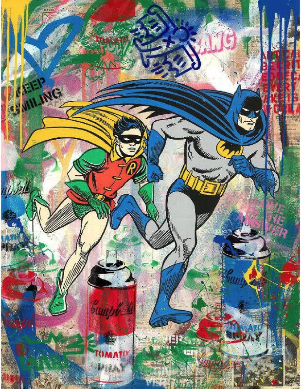 Mr. Brainwash, 'Batman & Robin', 2020, Mixed Media, Silkscreen and Mixed Media on Paper, Contessa Gallery