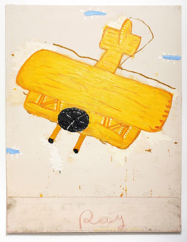 Rose Wylie, 'Ray's Yellow Plane (Film Notes)', 2013, Painting, Oil on canvas, UNION Gallery