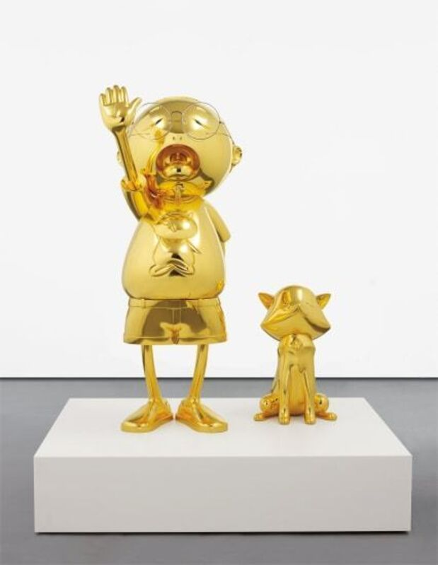 Takashi Murakami, 'Pom And Me', 2013, Sculpture, Gold leaf on aluminium, glass, chromed metal, with steel armature and Corian plinth, Gallery Red