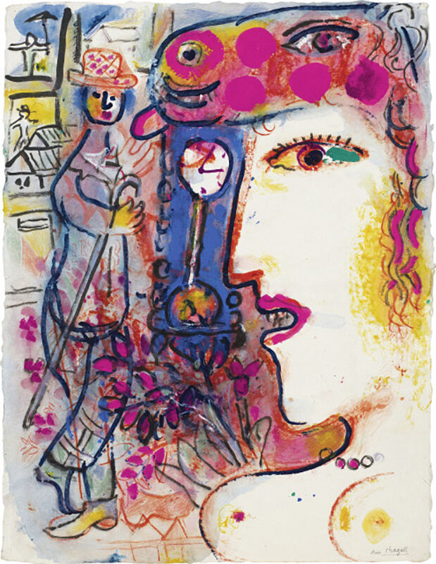 Marc Chagall, 'Le Profil', 1969, Painting, Gouache, color pencil, ink, Opera Gallery