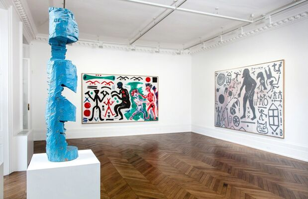 """A.R. Penck: Paintings from the 1980s and Memorial to an Unknown East German Soldier"", installation view"
