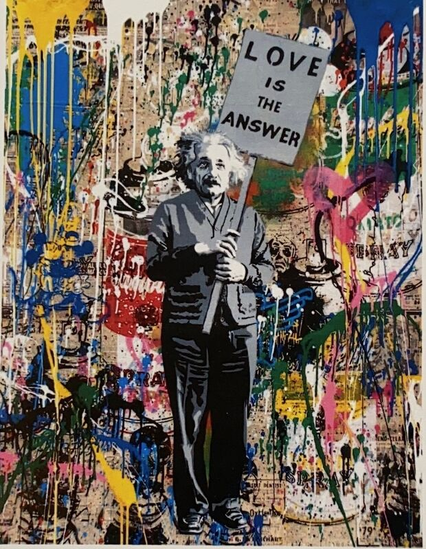Mr. Brainwash, 'Einstein', 2018, Painting, Screen print and mixed media on paper, Tate Ward Auctions