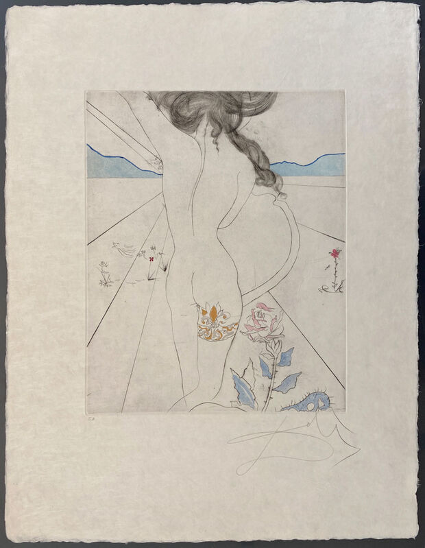 Salvador Dalí, 'Nude with Garter', 1969, Print, Hand-colored drypoint etching on Japon paper, Galerie d'Orsay