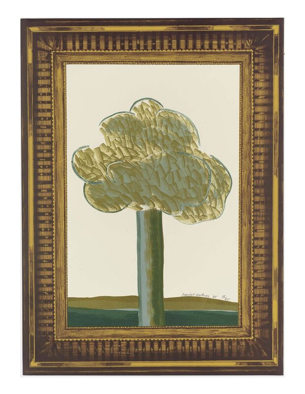 David Hockney, 'A Picture of a Landscape in an Elaborate Gold Frame', 1965, Print, Lithograph in colours, on wove paper, RAW Editions