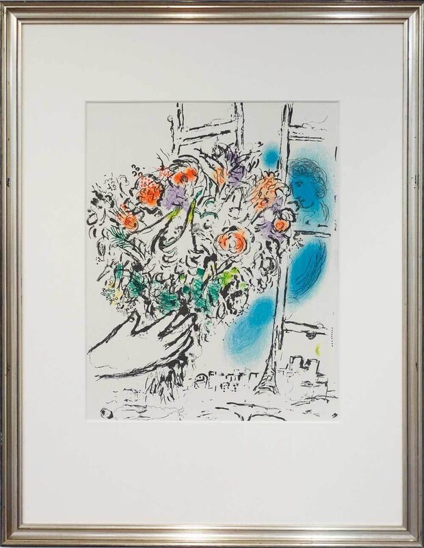 Marc Chagall, 'Strauss am Fenster (Hommage à Louis Aragon)', 1971, Print, Affiche original, lithograph printed by Mourlot, Galerie Kellermann