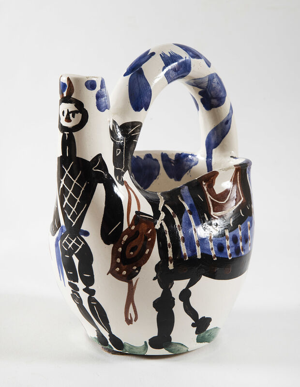 Pablo Picasso, 'Cavalier et cheval', 1952, Design/Decorative Art, Pitcher turned in white earthenware, decor with oxydes, engraved with knife in white enamel, black, brown, red, blue and green decor., HELENE BAILLY GALLERY
