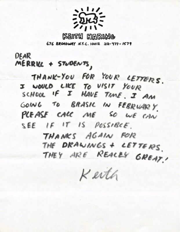 Keith Haring, 'Handwritten Letter', ca. 1987, Drawing, Collage or other Work on Paper, Ink on Haring's Private letterhead Stationery, Hand written and hand signed by Keith Haring, Alpha 137 Gallery