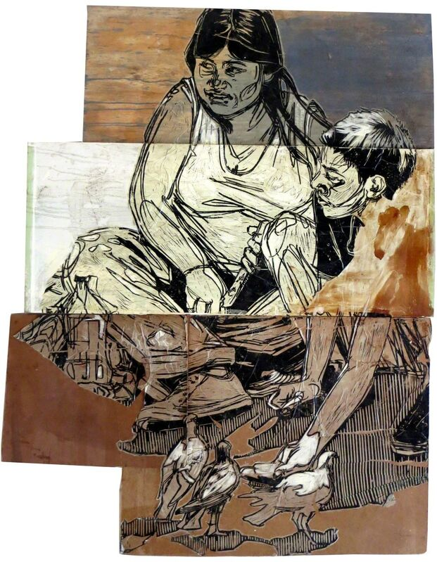 Swoon, 'Pigeon Feeding Family', 2014, Print, Blockprint on paper pasted to wood, Taglialatella Galleries