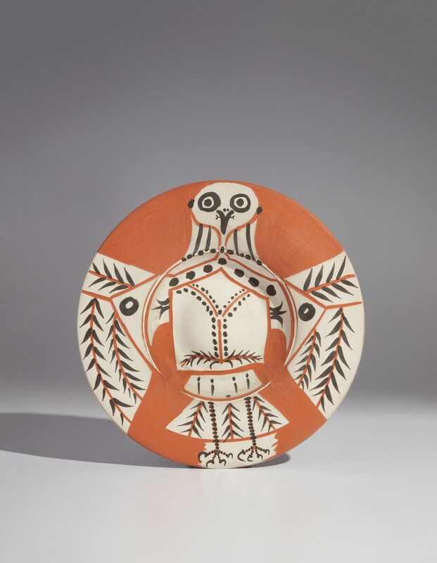 Pablo Picasso, 'White owl on red ground (Hibou blanc sur fond rouge)', 1957, Design/Decorative Art, Red earthenware round dish with engraving, painted in black and white with partial brushed glaze, Phillips