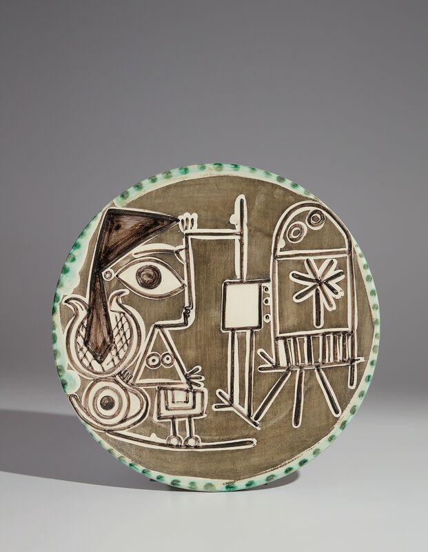 Pablo Picasso, 'Jacqueline at the Easel (Jacqueline au chevalet)', 1956, Design/Decorative Art, White earthenware round plate, painted in colors with brushed glaze, Phillips