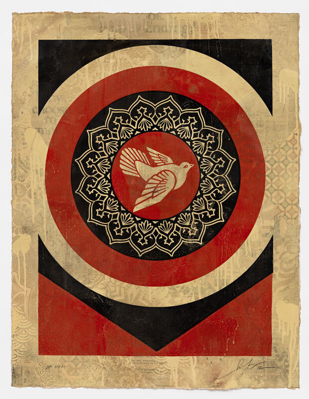 Shepard Fairey, 'Dove Target Red, HPM', 2012, Print, Two-color relief on hand-painted material, Pace Prints