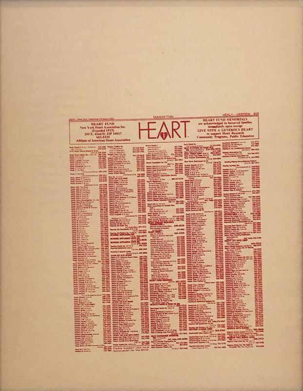 Andy Warhol, 'New York Heart Association Phone Book Ad', ca. 1984, Print, Screenprint, Hamilton-Selway Fine Art