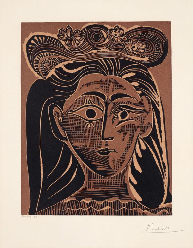 Pablo Picasso, 'Portrait de Jacqueline au chapeau de paille fleuri (Portrait of Jacqueline with a Flowery Straw Hat)', 1962, Print, Linocut in colours, on Arches paper, with full margins (deckle at lower edge)., Phillips