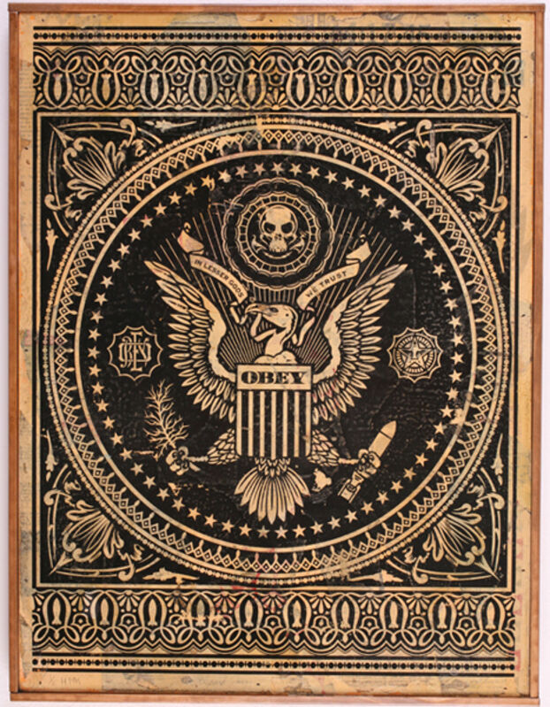 Shepard Fairey, 'Presidential Seal', 2007, Mixed Media, Hand painted multiple on wood, Jonathan LeVine Projects