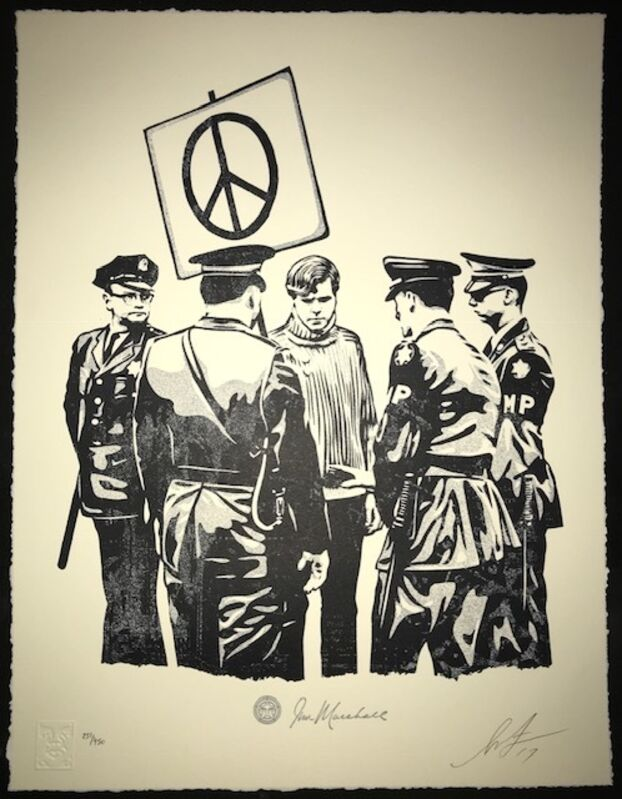 Shepard Fairey, 'Peaceful Protester Letter Press', 2017, Print, Letter Press, New Union Gallery