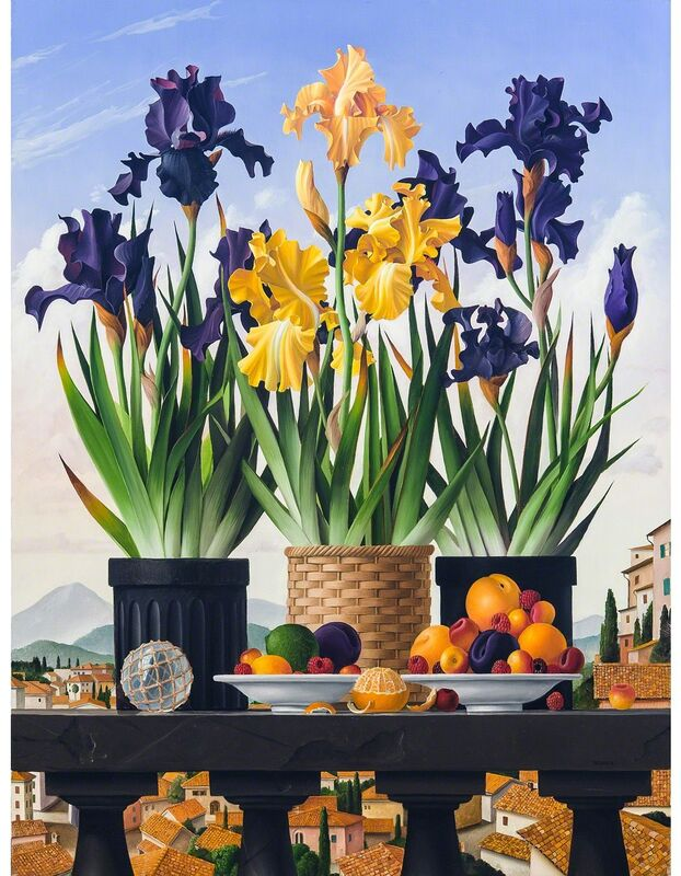 James Aponovich, '3 Pots of Iris', 2007, Painting, Oil on Canvas, Clark Gallery