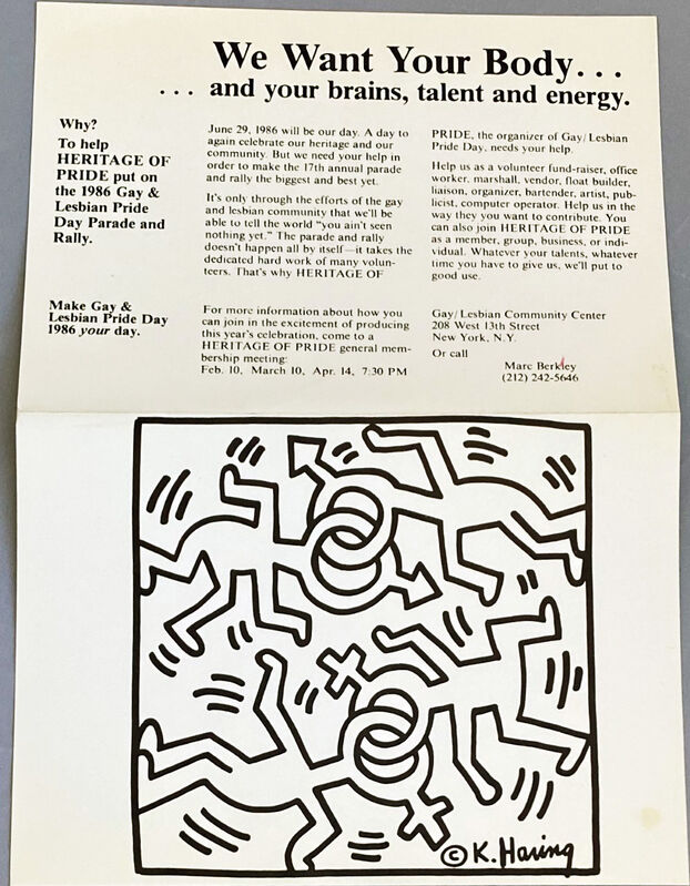 Keith Haring, 'Keith Haring illustrated announcement for Gay/Lesbian Pride Day, New York, 1986', 1986, Posters, Offset lithograph, Lot 180