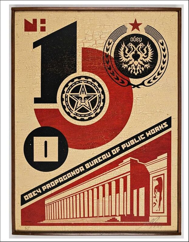 Shepard Fairey, 'Bureau of Public Works (on Wood). ', 2004, Mixed Media, Original Painting on wood. Hand signed and annotated on both the recto and verso. In original handmade artist's frame., Alpha 137 Gallery