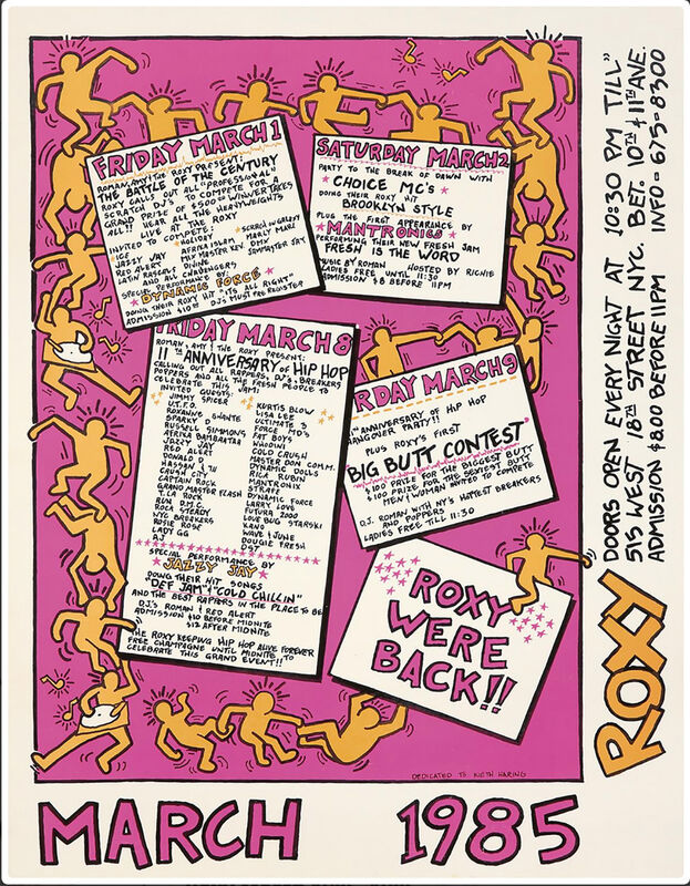Keith Haring, 'Keith Haring Poster for The Roxy 1985', 1985, Posters, Offset lithograph, Lot 180