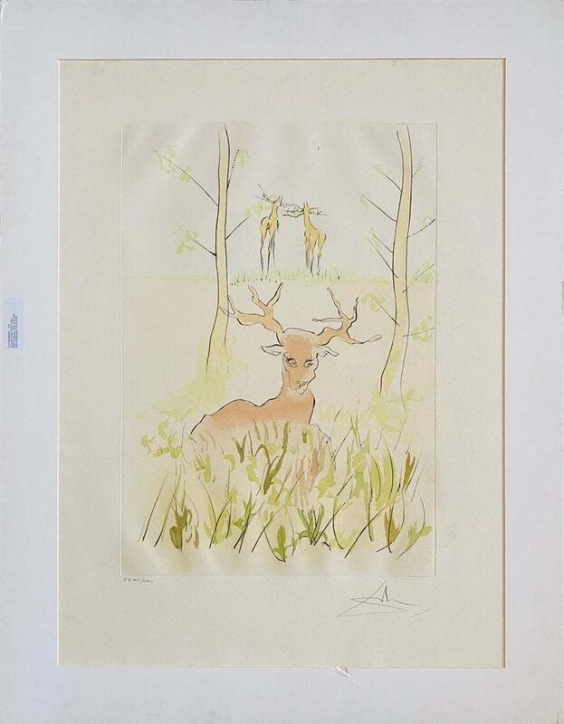 Salvador Dalí, 'La Cerf Malade', 1970-1979, Print, Color Print, Drypoint, Etching, Lions Gallery