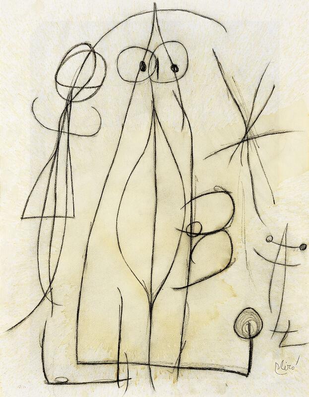 Joan Miró, 'Femme attrapant un oiseau attiré par le sexe béant de cette femme, à l'ombre d'une étoile', 1976, Drawing, Collage or other Work on Paper, Mixed media on paper, Galerie Lelong & Co.