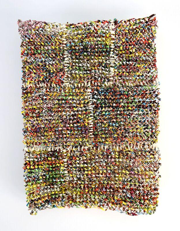 Stefana McClure, 'Wonder Woman: Flaming Fury', 2015, Drawing, Collage or other Work on Paper, Knitted paper, Josée Bienvenu