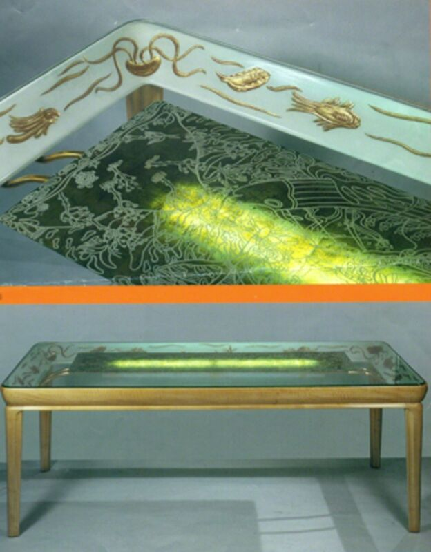Osvaldo Borsani, 'Dining room table', ca. 1941, Design/Decorative Art, Solid maple with a tray frame, painted and sculpted with marine animals decorative motif figuring the myth of Ulisse, Top in thick crystal by Fontana Arte, Galleria Rossella Colombari