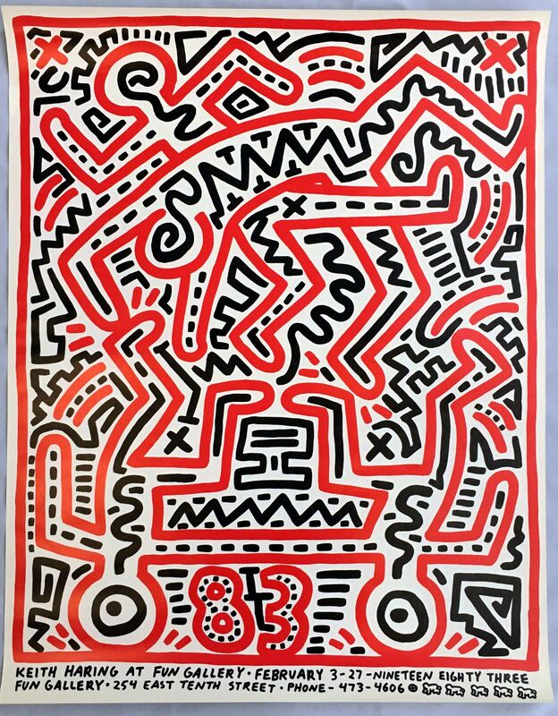 Keith Haring, 'Keith Haring 1983 Fun Gallery exhibition poster ', 1983, Posters, Offset lithograph in colors on wove paper, Lot 180