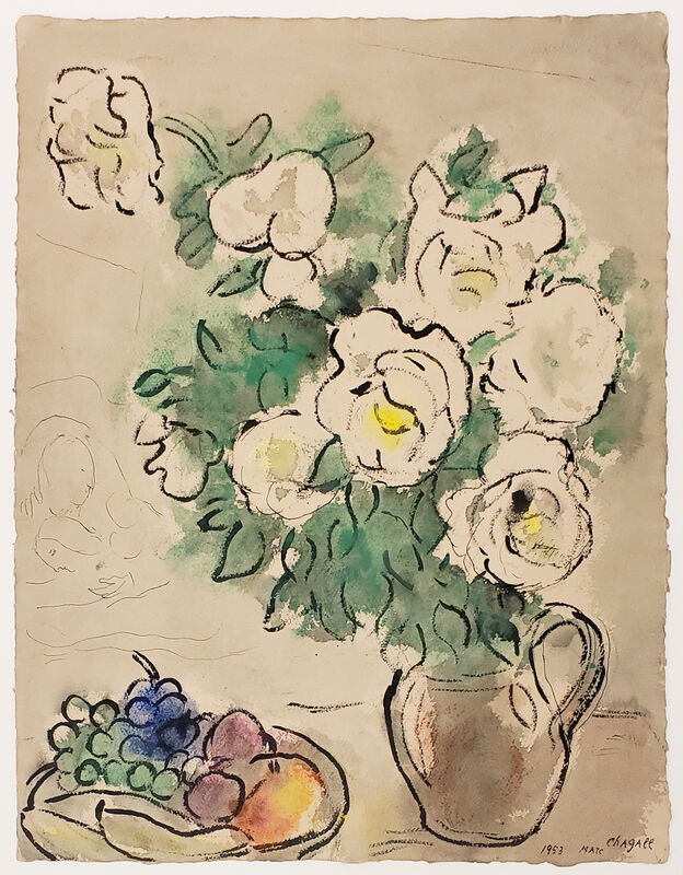 Marc Chagall, 'Roses blanches et nature morte ou Fleurs blanches et coupe de fruits (White Roses and Still Life or White Flowers and Fruit Cup)', 1953, Painting, Watercolor, gouache and pastel on paper, Jonathan Novak Contemporary Art