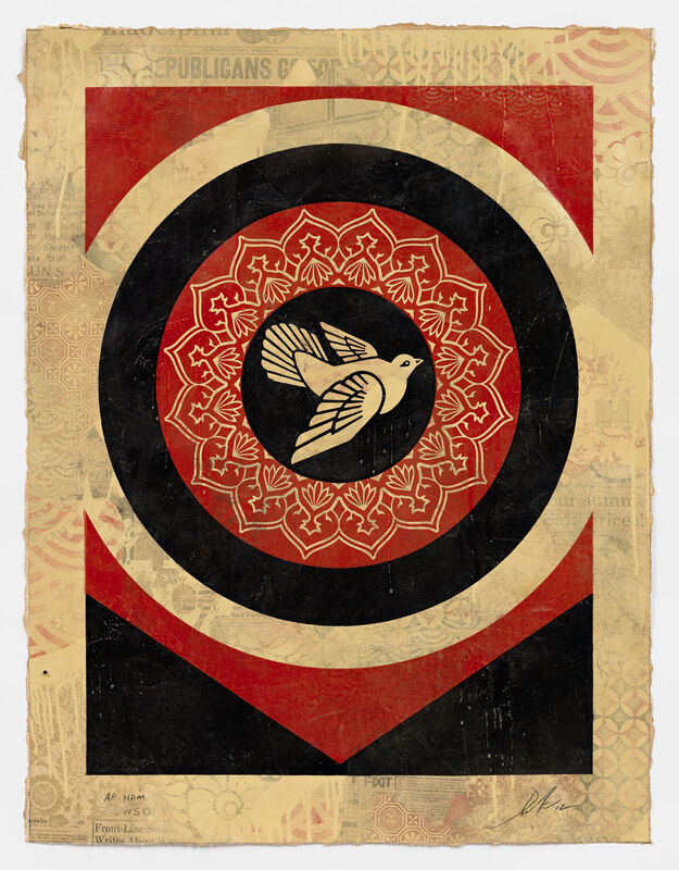 Shepard Fairey, 'Dove Target Black, HPM', 2012, Print, Two-color relief on hand-painted material, Pace Prints