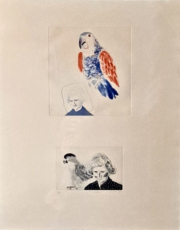 David Hockney, 'My Mother with a Parrot', 1974, Print, Etching and aquatint in colours on wove paper, Artsy x Capsule Auctions
