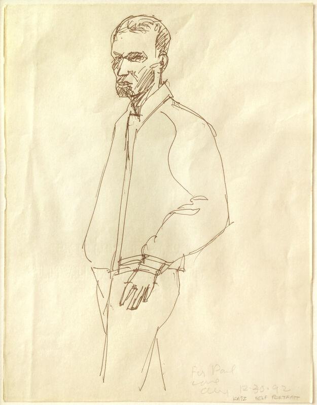 Alex Katz, 'Self-Portrait', 1992, Drawing, Collage or other Work on Paper, Pencil, Jim Kempner Fine Art