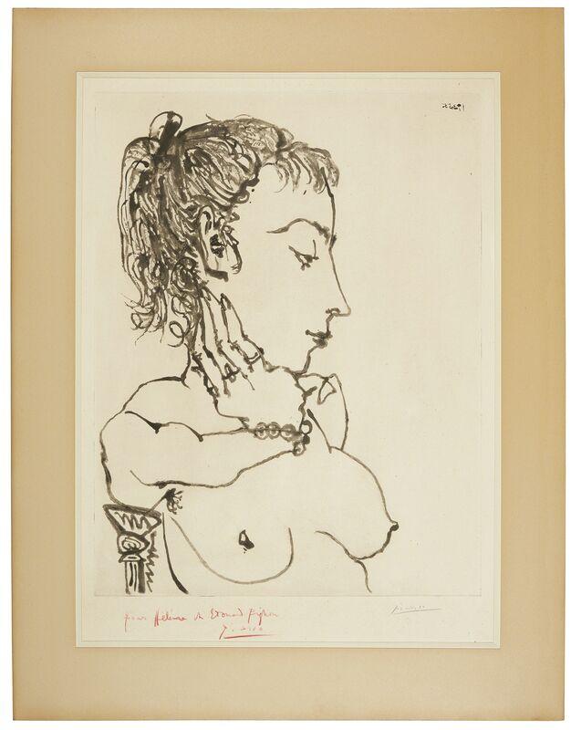 Pablo Picasso, 'Buste de femme à la queue de cheval: Jacqueline', 1955, Print, Sugar-lift aquatint and drypoint on Arches wove paper, Christie's