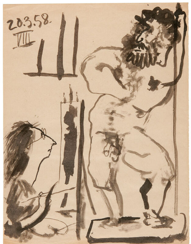 Pablo Picasso, 'Peintre dans son atelier, March 20, 1958', Drawing, Collage or other Work on Paper, India ink on paper, Gagosian