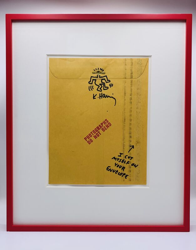 Keith Haring, 'Untitled (Do Not Bend)', ca. 1985, Drawing, Collage or other Work on Paper, Marker pen, blood, envelope, Artificial Gallery