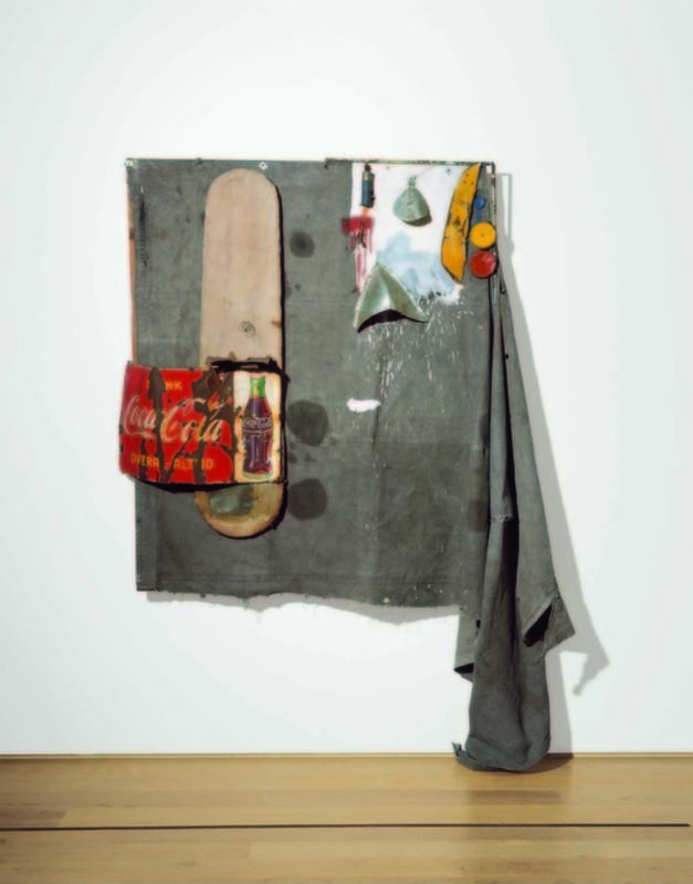 Robert Rauschenberg, 'Dylaby (Combine Painting)', 1962, Mixed Media, Oil, metal objects, metal spring, metal Coca-Cola sign, ironing board, and twine on unstretched canvas tarp on wooden support, Gagosian