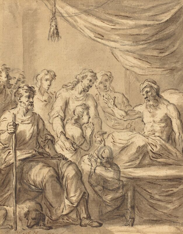 Sir James Thornhill, 'A Deathbed Scene', Drawing, Collage or other Work on Paper, Pen and brown ink with brown wash over black chalk on laid paper, National Gallery of Art, Washington, D.C.