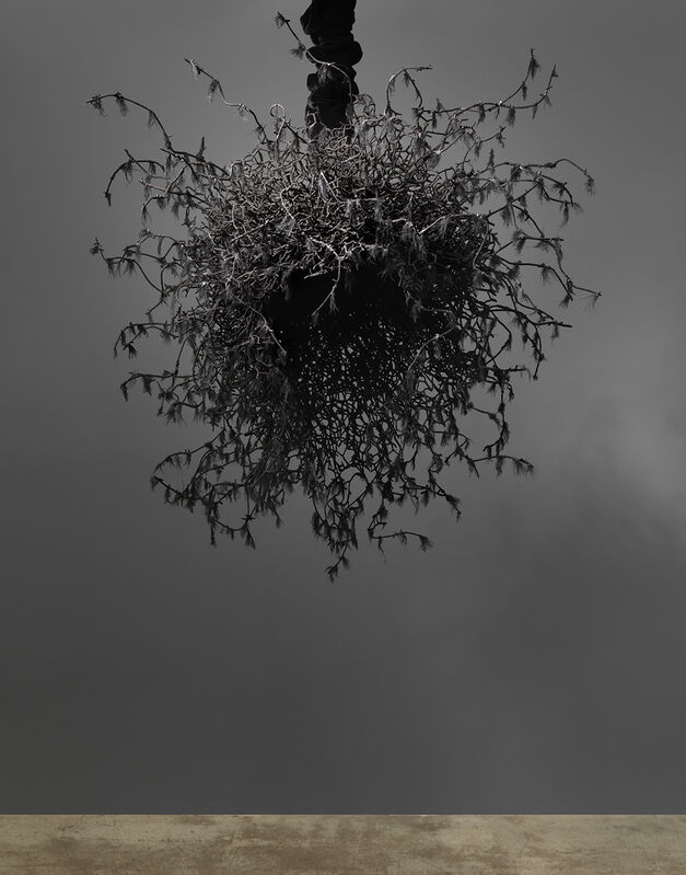 """Petah Coyne, 'Untitled #1459 (Yoko Ogawa: The Memory Police)', 2019, Sculpture, Black sand from pig iron casting, artificial feathers, acrylic polymer, paint, chicken-wire fencing, barbed wire, annealed wire, steel, cable, cable nuts, cable thimbles, quick-link shackles, jaw-to-jaw swivel, 3/8"""" Grade 30 proof coil chain, silk/rayon velvet, Velcro, thread, plastic, Shoshana Wayne Gallery"""