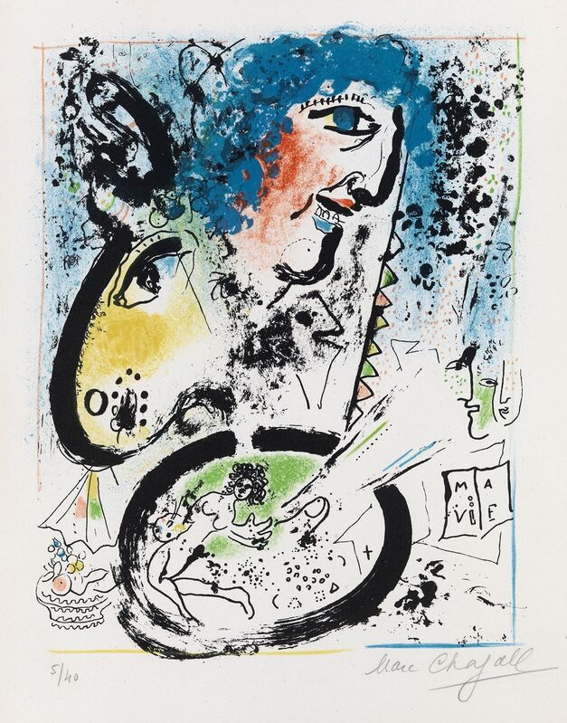 Marc Chagall, 'Autoportrait à la Palette - Self Portrait with his Palette', 1960, Print, Original lithograph in colours, William Weston Gallery Ltd.
