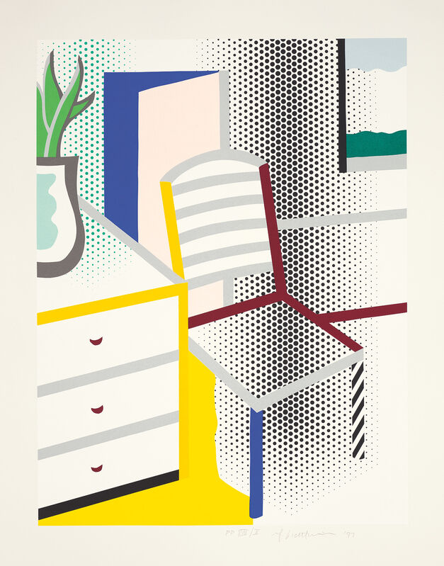Roy Lichtenstein, 'Interior with Chair, from Leo Castelli 90th Birthday portfolio', 1997, Print, Screenprint in colours, on Somerset paper, with full margins., Phillips