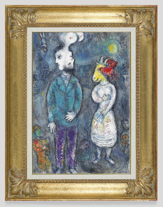 Marc Chagall, 'Two faced couple', 1980, Painting, Oil, tempera and India ink on canvas, Opera Gallery